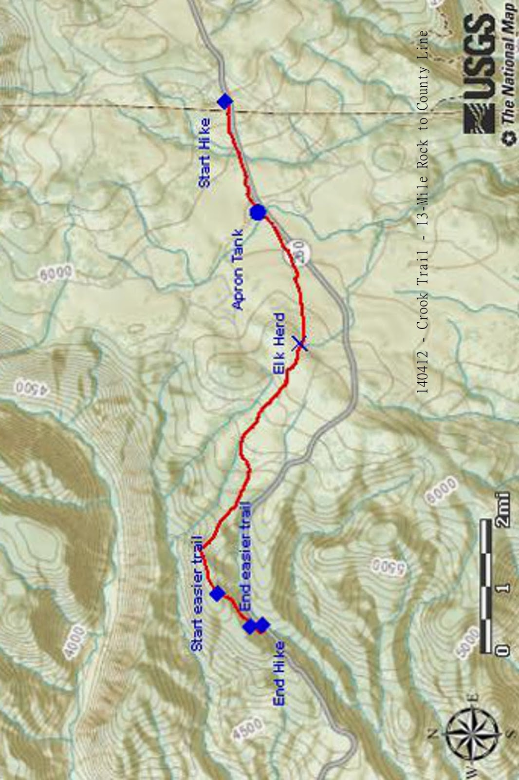 our hike path with a few modifications where we deviated too far from the trail is shown in red on the attached map below