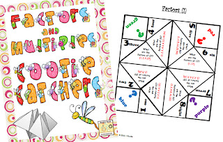 photo of Factors and Multiples cootie catchers @ Runde's Room