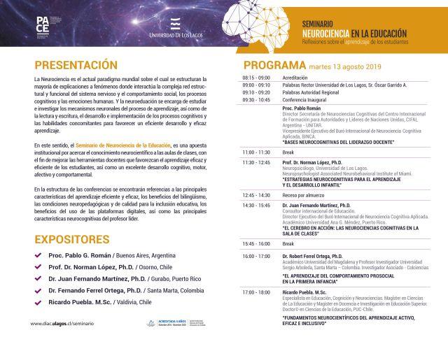 """Programa Seminario Internacional """"Neurociencia en la educación"""""""