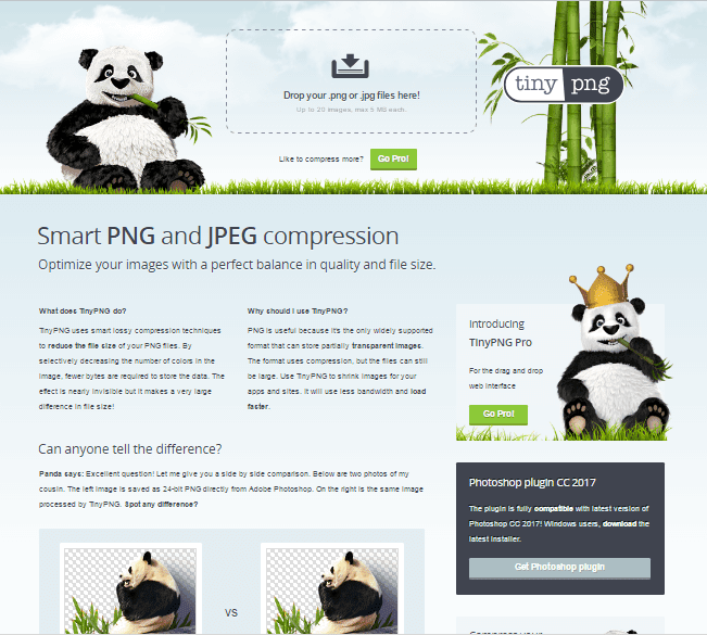 tinypng.com is a great tools for online photo shorting