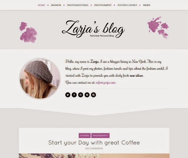 Zarja - Feminine Personal Wordpress Blog Theme