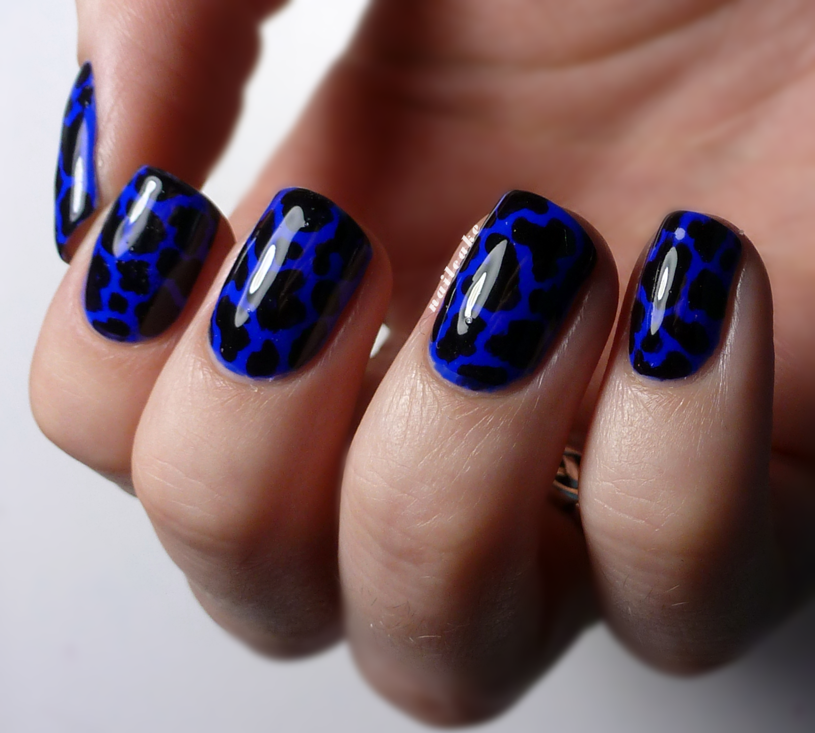 Nail Cake Blue Black Splodges Cow Print Nail Art