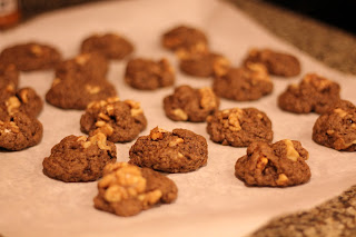 Fresh out of the oven, vegan walnut flax cookies