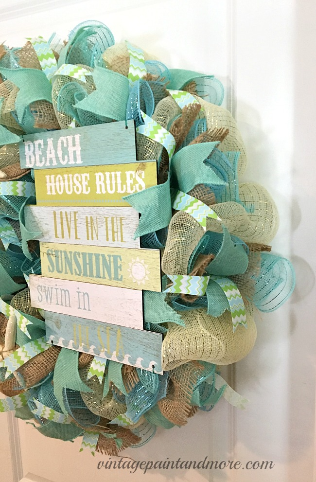 Vintage Paint and more... side view of the depth of a deco mesh wreath resembling the colors and textures of the sea and beach