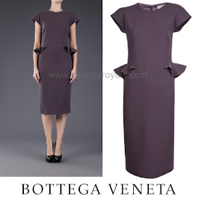 Queen Maxima Style Bottega Veneta Purple Sleeveless Ruffle Dress