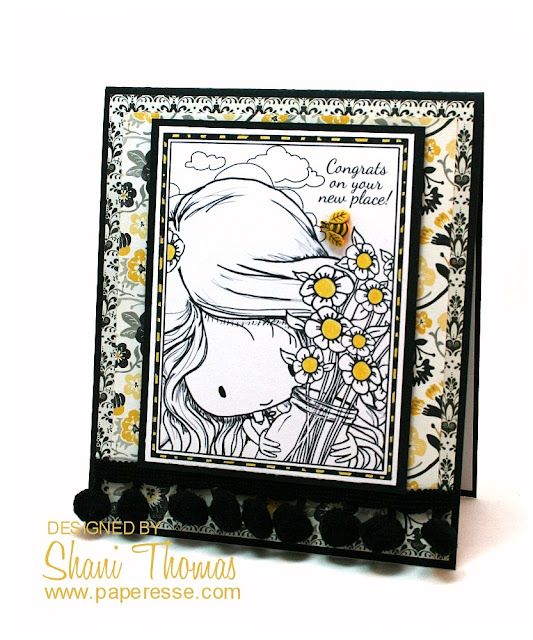 New Home card featuring Tiddly Inks Thankful Heart freebie, by Paperesse.