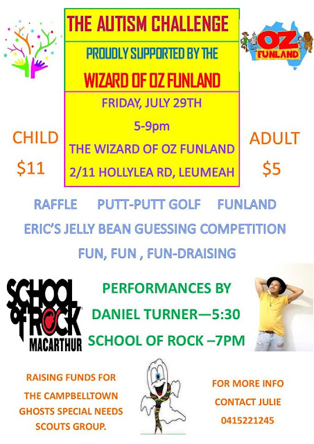 Flyer advertising fundraising event at Wizard of Oz Funland, Leumeah
