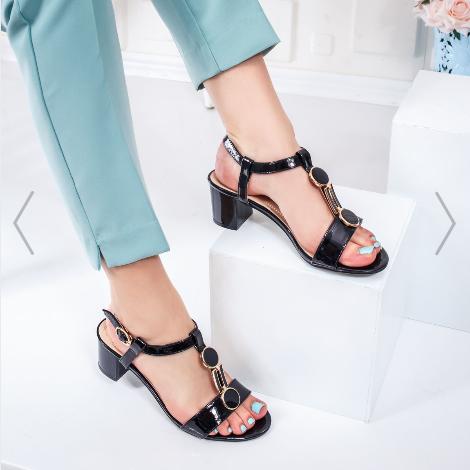 Sandale cu toc mic gros dama negre de zi si birou elegante si comode