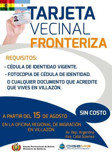 Requisitos para obtener la TVF paso Villazón - La Quiaca