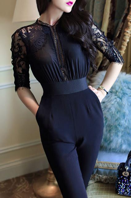 Cutout Decorative Lace Plain Jumpsuits