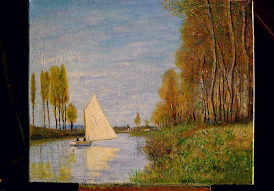 'Voilier sur le petit bras de la seine à Argenteuil' d'après Monet