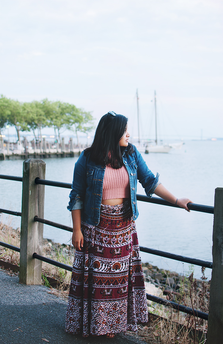 Indian street market skirt, j. crew denim jacket, ray-ban oversized wayfarers, forever 21 crop top