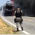 Caminhão-cegonha carregado com carros modelo Hilux pega fogo na BR 405 em Uiraúna