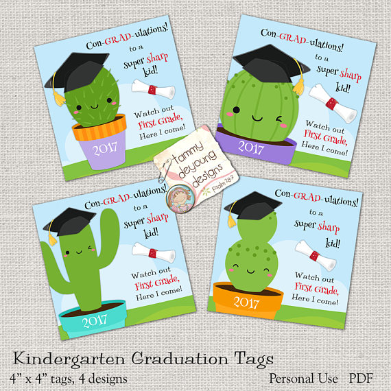 Cactus Graduation Treat Tags