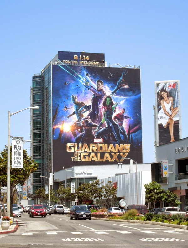 Giant Guardians of the Galaxy movie billboard Sunset Strip