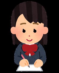 紙に文字を書く女性