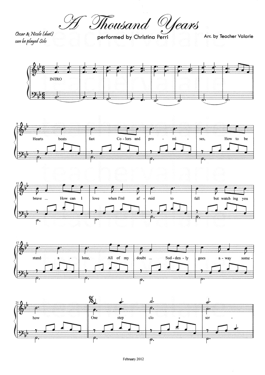 Years Love Piano Sheet Music