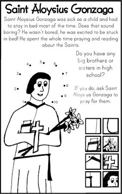 Saint Aloysius Gonzaga Coloring Page and Dot to Dot