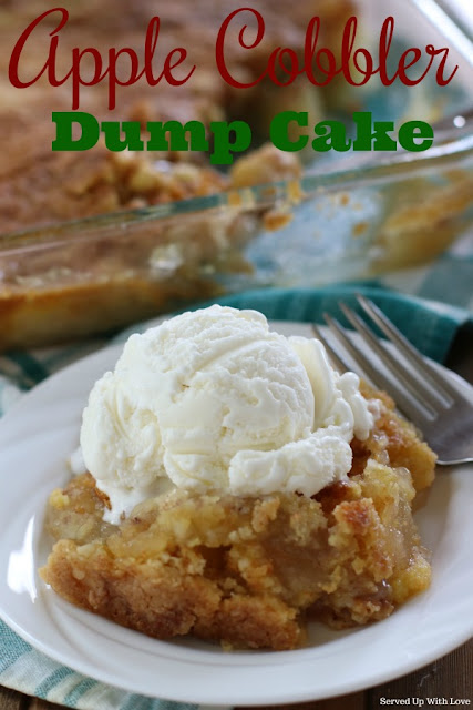 Easy 4 ingredient Apple Cobbler Dump Cake recipe from Served Up With Love. Its the perfect taste of fall.