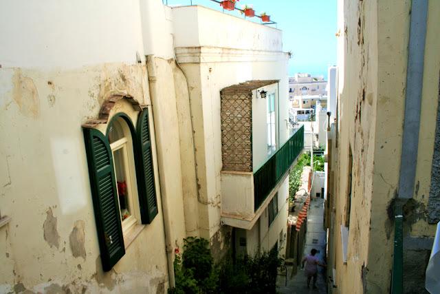 strada, via, isola, Capri, muri, finestre