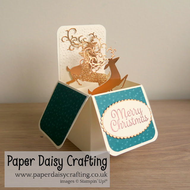 Pop up card in a box with Stampin Up Detailed Derr dies.