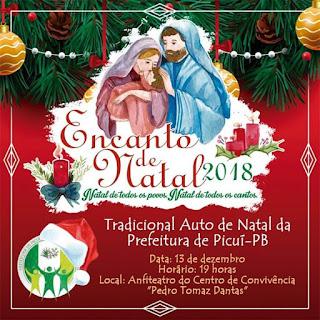 Prefeitura de Picuí realiza mais um 'Encanto de Natal' nesta quinta-feira, 13