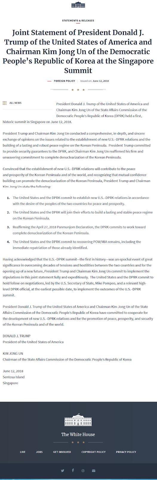 조-미 싱가포르수뇌회담 공동성명 Joint Statement of DPRK - US at the Singapore Summit - 2018년 6월 12일 싱가폴 센토사섬