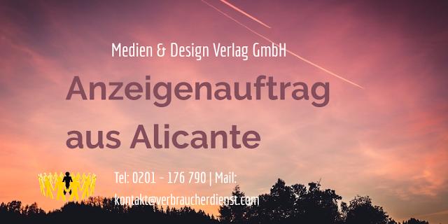 Medien & Design Verlag GmbH – Anzeigenauftrag aus Alicante