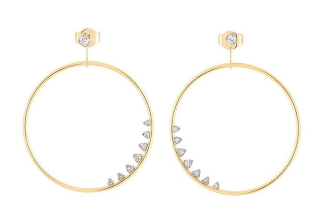 Geometric Code Diamond Circle Earrings by H.Stern