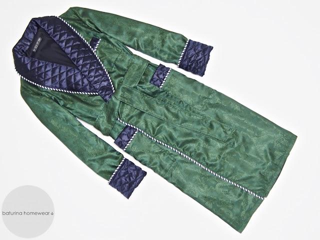 mens long paisley silk dressing gown gentleman quilted robe dark green navy blue luxury lightweight soft