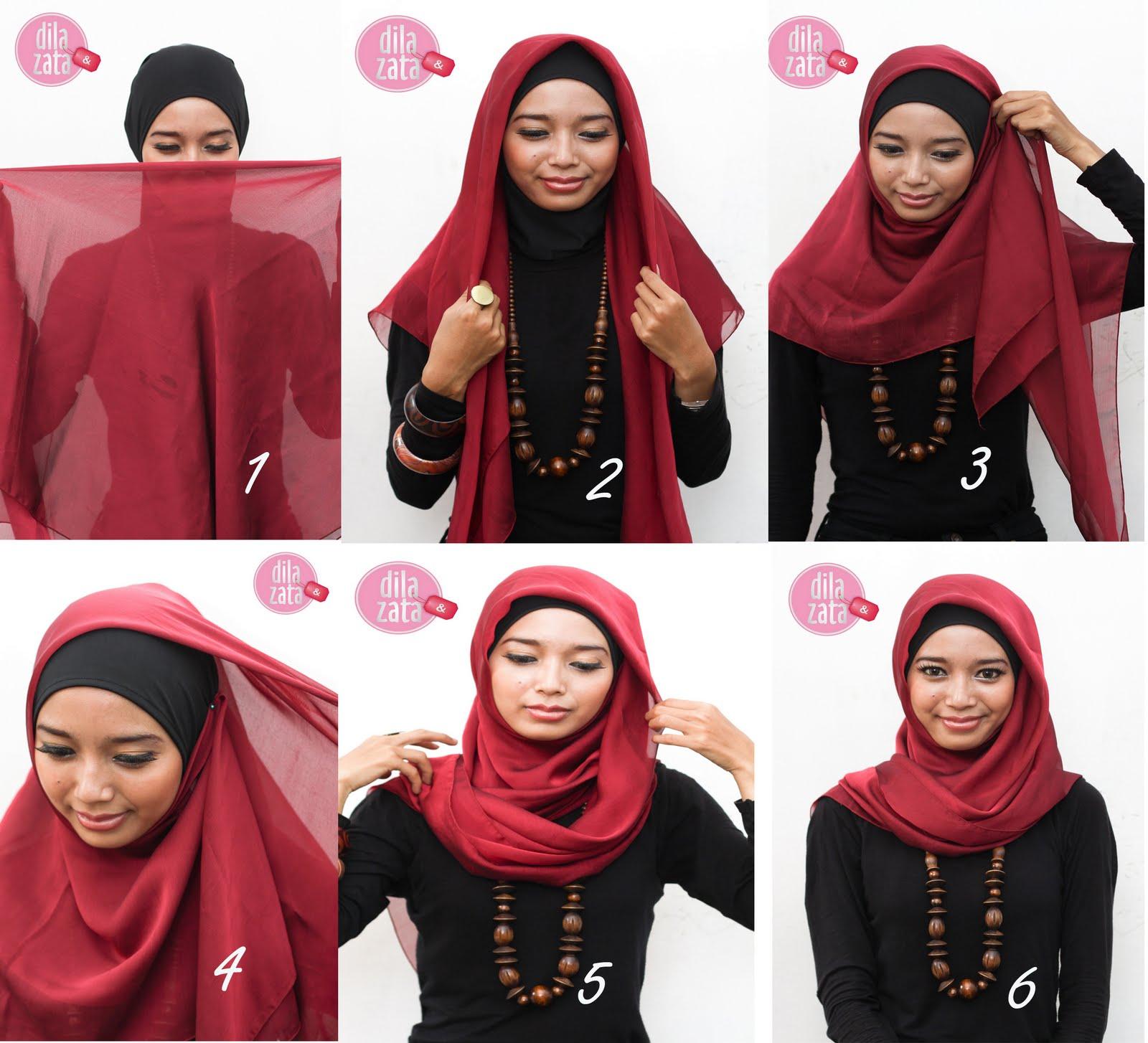 82 Gambar Menarik Tutorial Hijab Segi Empat Buat Kerja Sayang