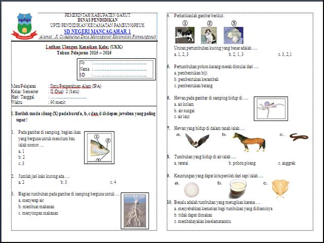 Soal Latihan UKK/UAS Kelas 2 Semester 2
