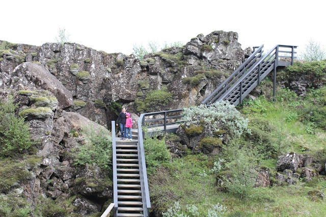 Climbing for a view at Thingvellir in Iceland