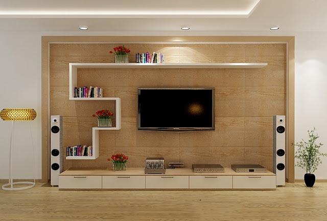 Kệ tivi phòng khách bằng gỗ dạng đóng hộp