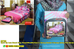 Sprei My Love Naomi King Fitted180x200xT22,5 2 Sarung Bantal 2 Sarung Guling Pink Merah Jambu Ornamen Floral Dewasa