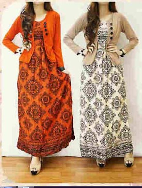 long dress batik kombinasi blazer