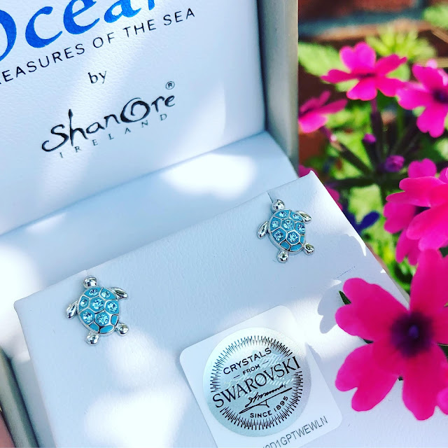Gorgeous! Aquamarine Sea Turtle Stud Earrings | LaBelle's General Store