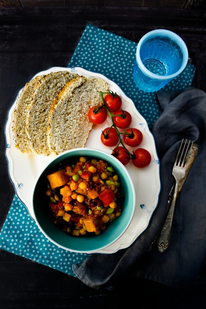 Birds Eye Moroccan Tagine with Chickpeas and Grilled Aubergine