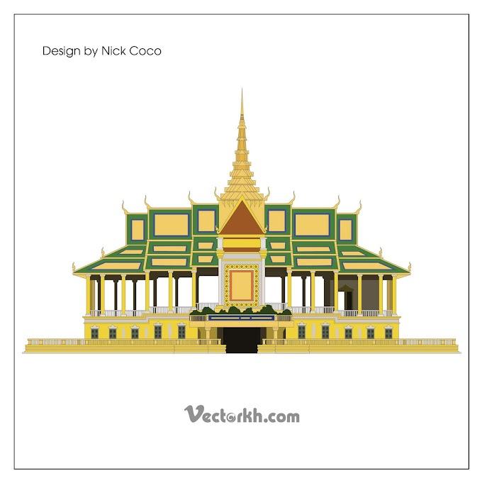 Cambodia royal palace free vector, Cambodia Royal Palace Phnom Penh Retro Free Vector