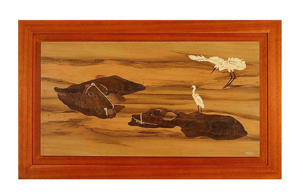 贈淡江大學 木箔 ®系列作品 「水牛飛鶴—成雙入對」一幅