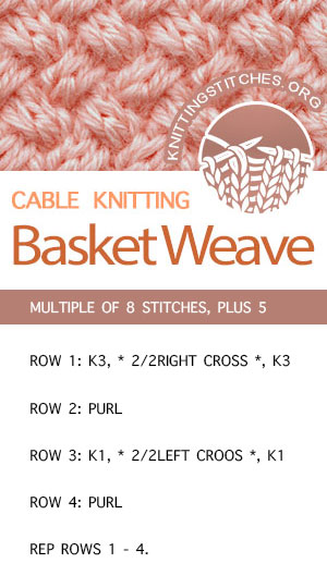 #KnittingStitches -- Basket Weave Cable Stitch Pattern. FREE written instructions. The Basket Weave Cable Stitch pattern creates a tight, dense fabric with a woven look.