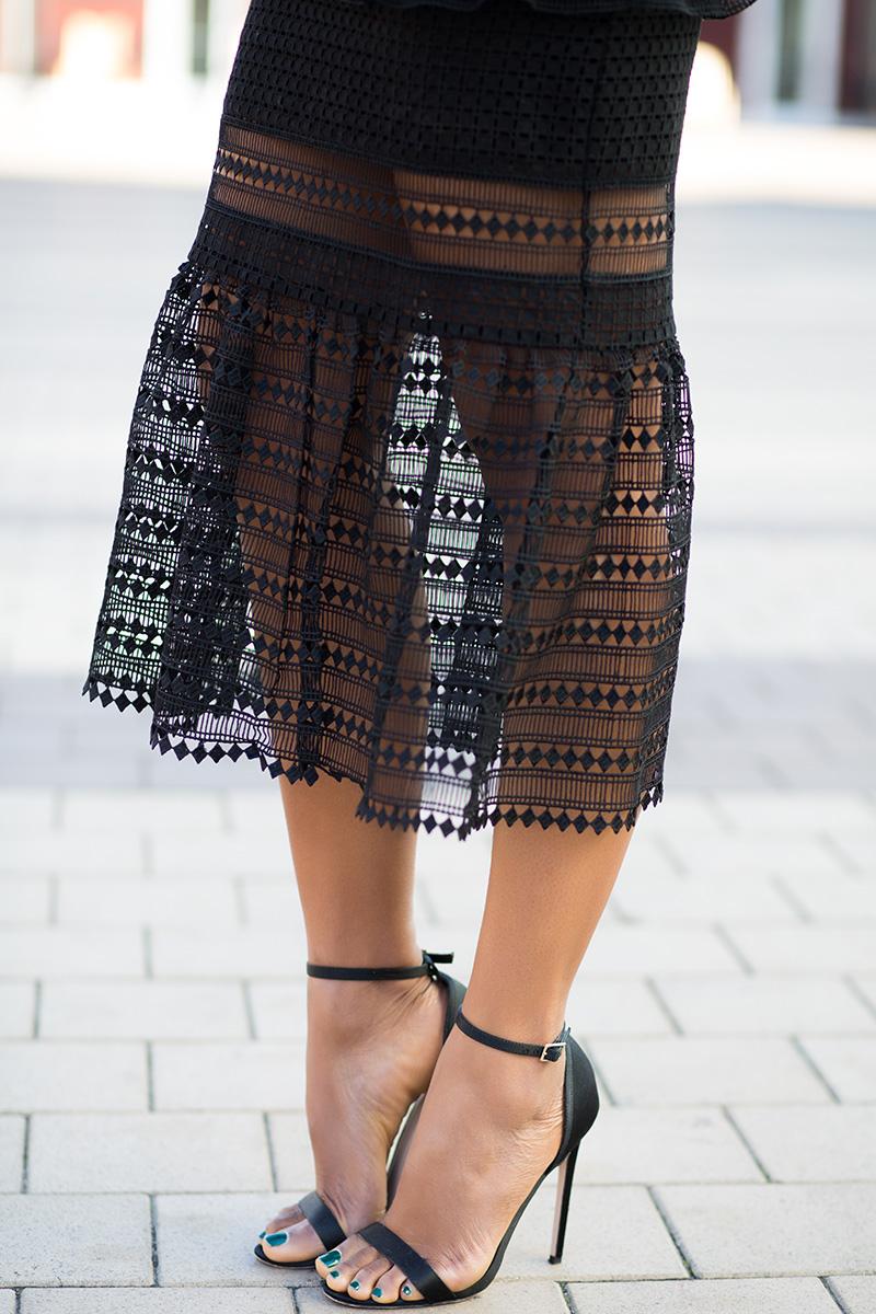 asos sandals, Little black dress, Self Portrait Frilled Column Dress, www.jadore-fashion.com