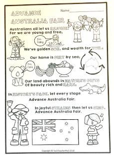 advance australia fair, australian national anthem, lyrics, song, visual, vocabulary, techteacherpto3