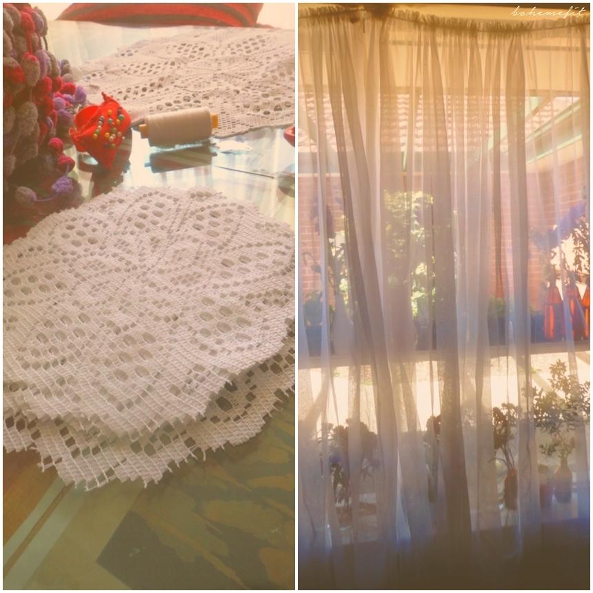 Homeboheme ☾ Diy Drapes Doily Bejeweled