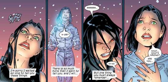 X-23 mencium aroma pemacu pada tubuh Sarah