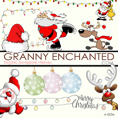 Free Christmas Digital Scrapbook Santa, Bulbs, and Deer Element Pack