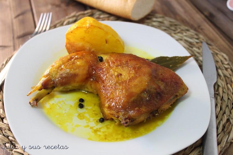 POLLO AL HORNO CON PATATAS | Cocina
