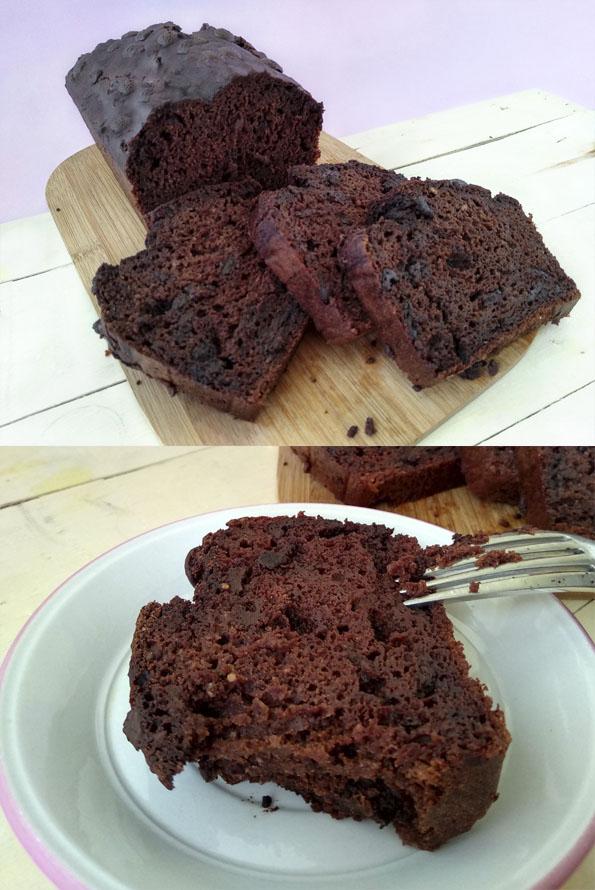 Bizcocho de chocolate calabacin y platano la cocinera novata receta cocina reposteria dulce desayuno merienda