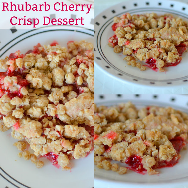 Rhubarb Cherry Crisp Dessert Recipe from Hot Eats and Cool Reads! This springtime dessert is so delightful with it's sweet and tart flavors! Use strawberry or raspberry Jello for a new flavor every time!