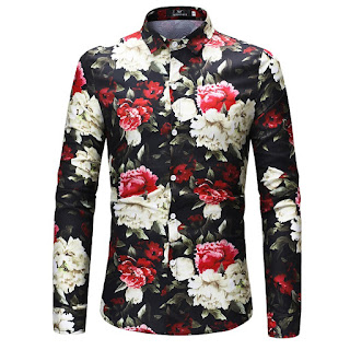 Men's Flowers Print Long-Sleeved Shir